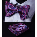 Purple Blue Paisley Mens Silk Self tie Bow Tie with Pocket Squares Set - Amedeo Exclusive