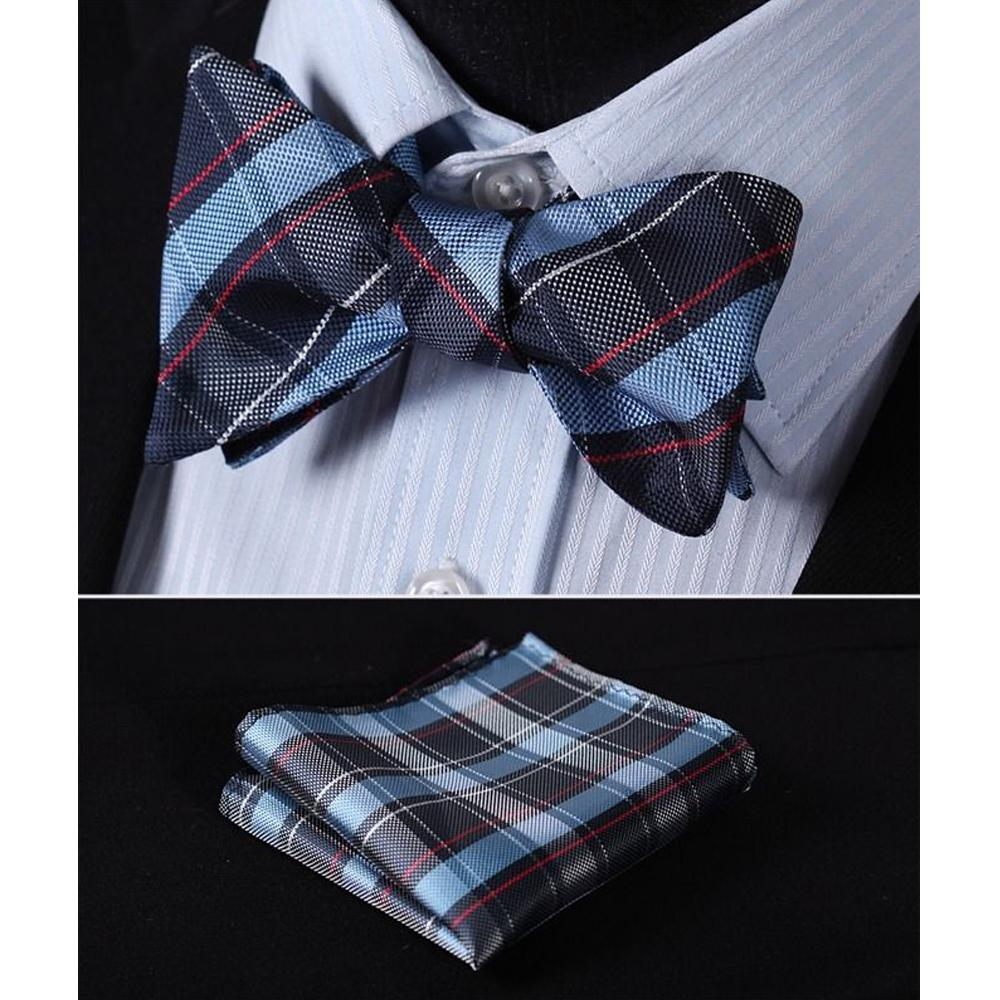 Men's Blue Red Check Silk Self Bow Tie & Handkerchief