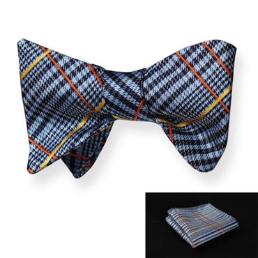 Amedeo Exclusive Men's Check Woven Silk Self Bow Tie with Handkerchief