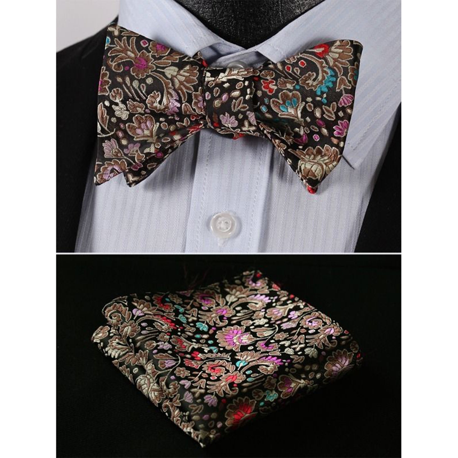 Men's Silk Self Bow Tie Handkerchief