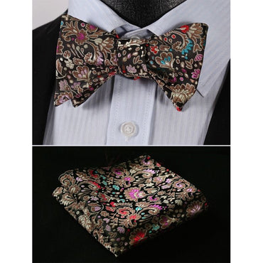 Men's Silk Brown Pink Floral Self Bow Tie Handkerchief - Amedeo Exclusive