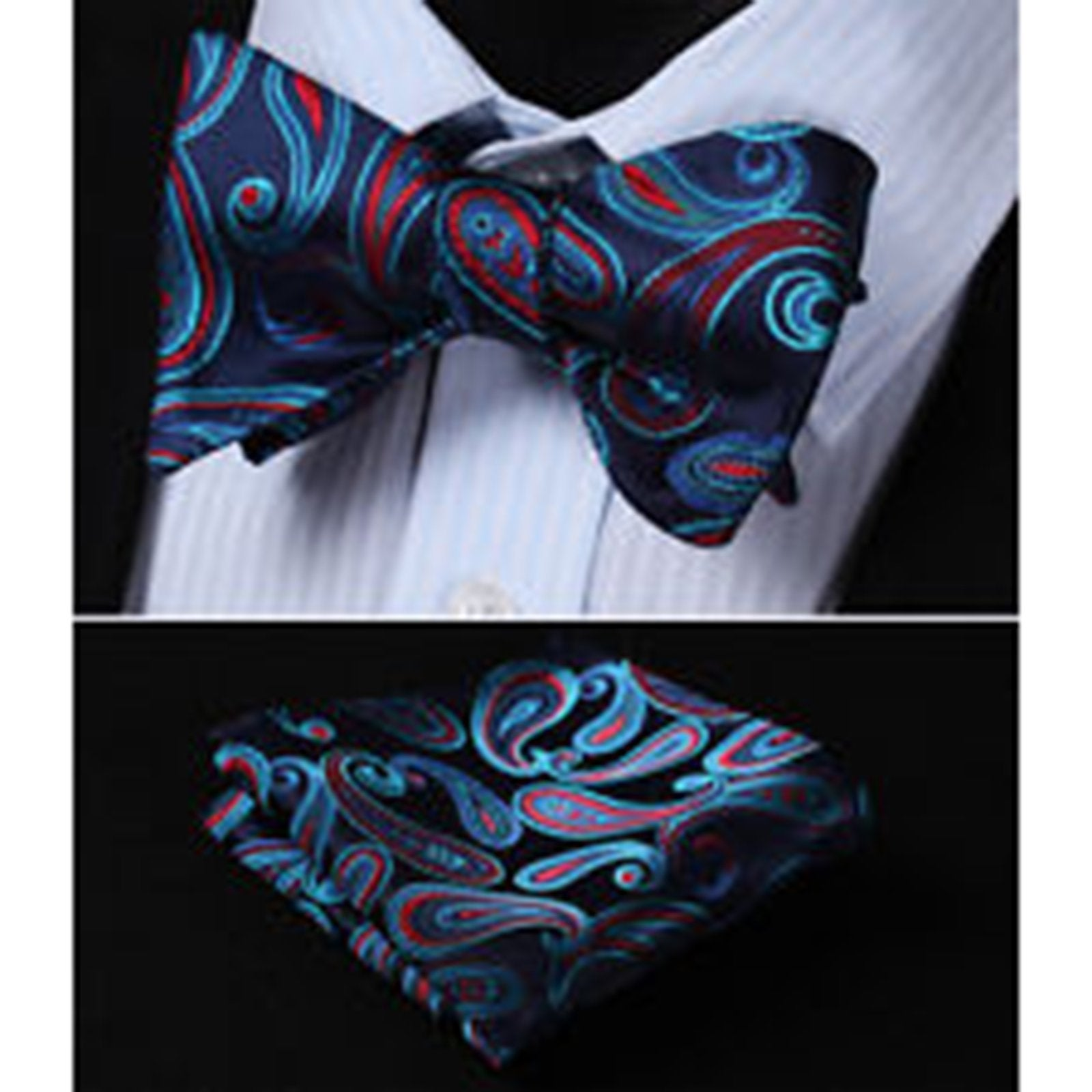 Blue Red Paisley Mens Silk Self tie Bow Tie with Pocket Squares Set - Amedeo Exclusive