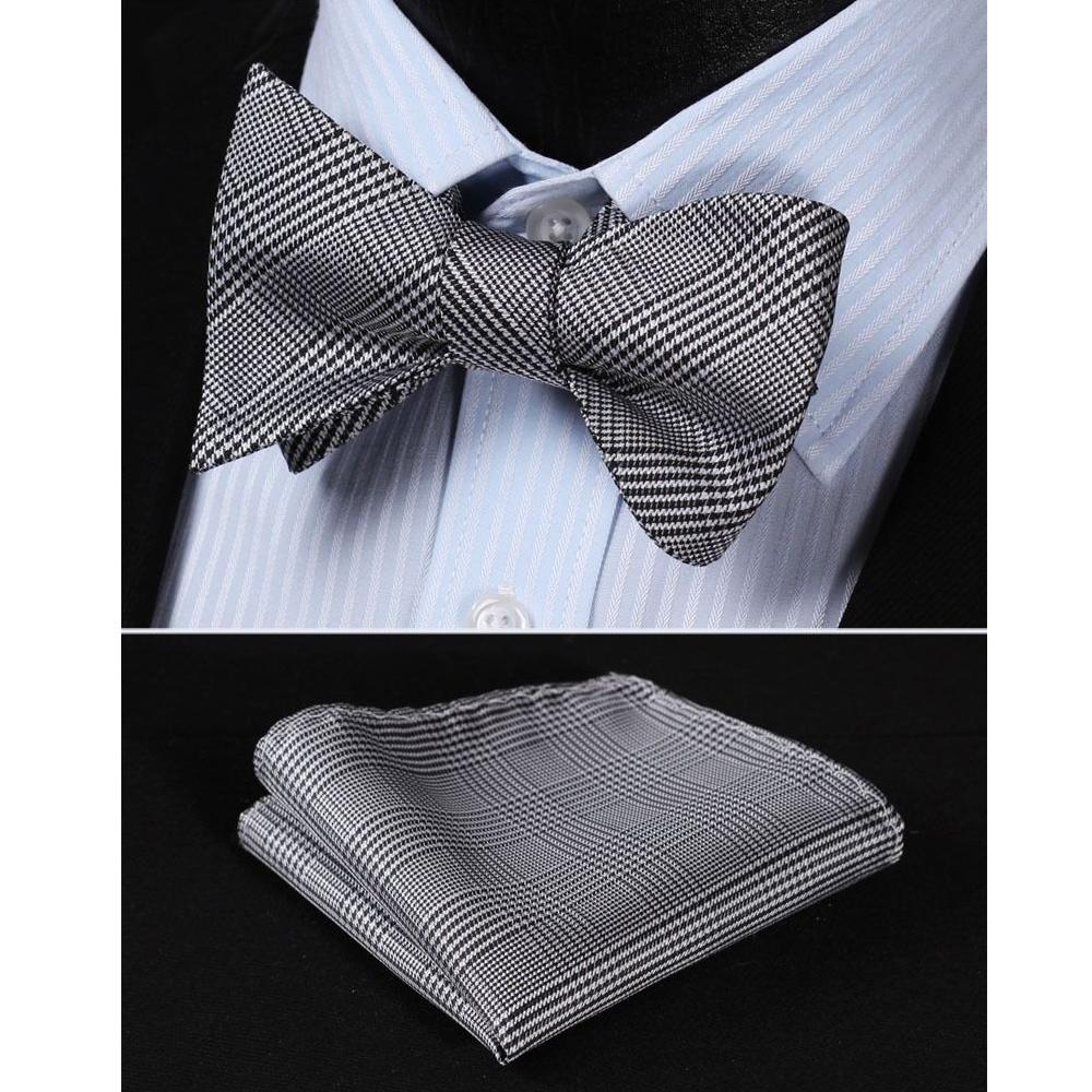 Men's Silk Black White Check Self  Bow Tie Pocket Handkerchief - Amedeo Exclusive