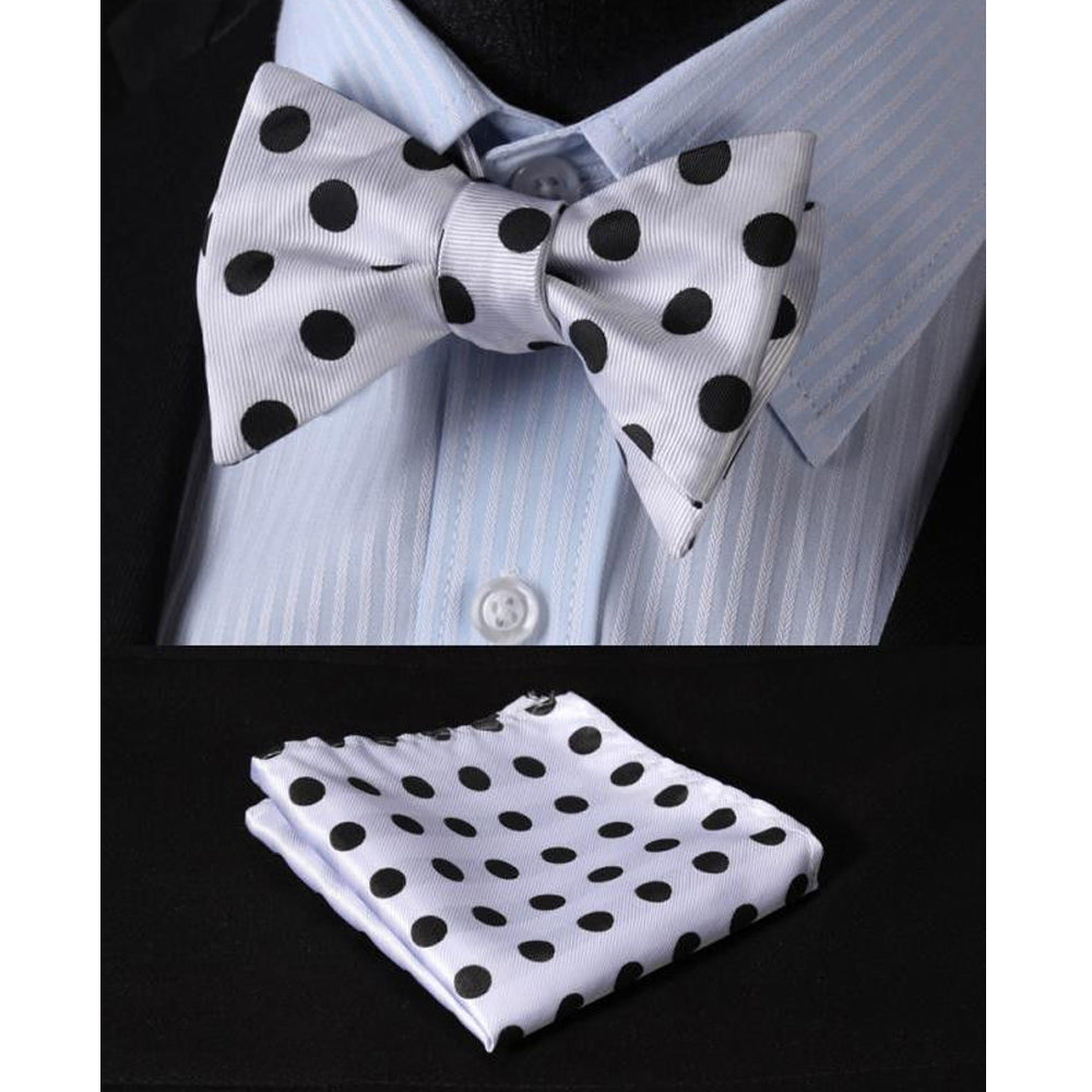 Men's Silk White & Black Self Bow Tie Handkerchief