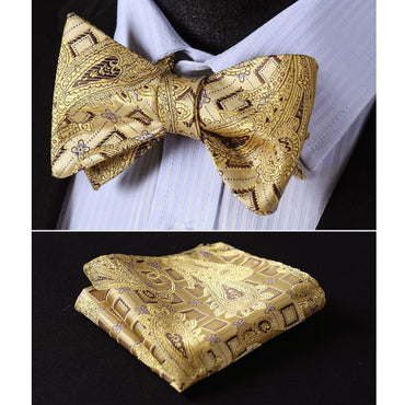 Gold Black Paisley Mens Silk Self tie Bow Tie with Pocket Squares Set - Amedeo Exclusive