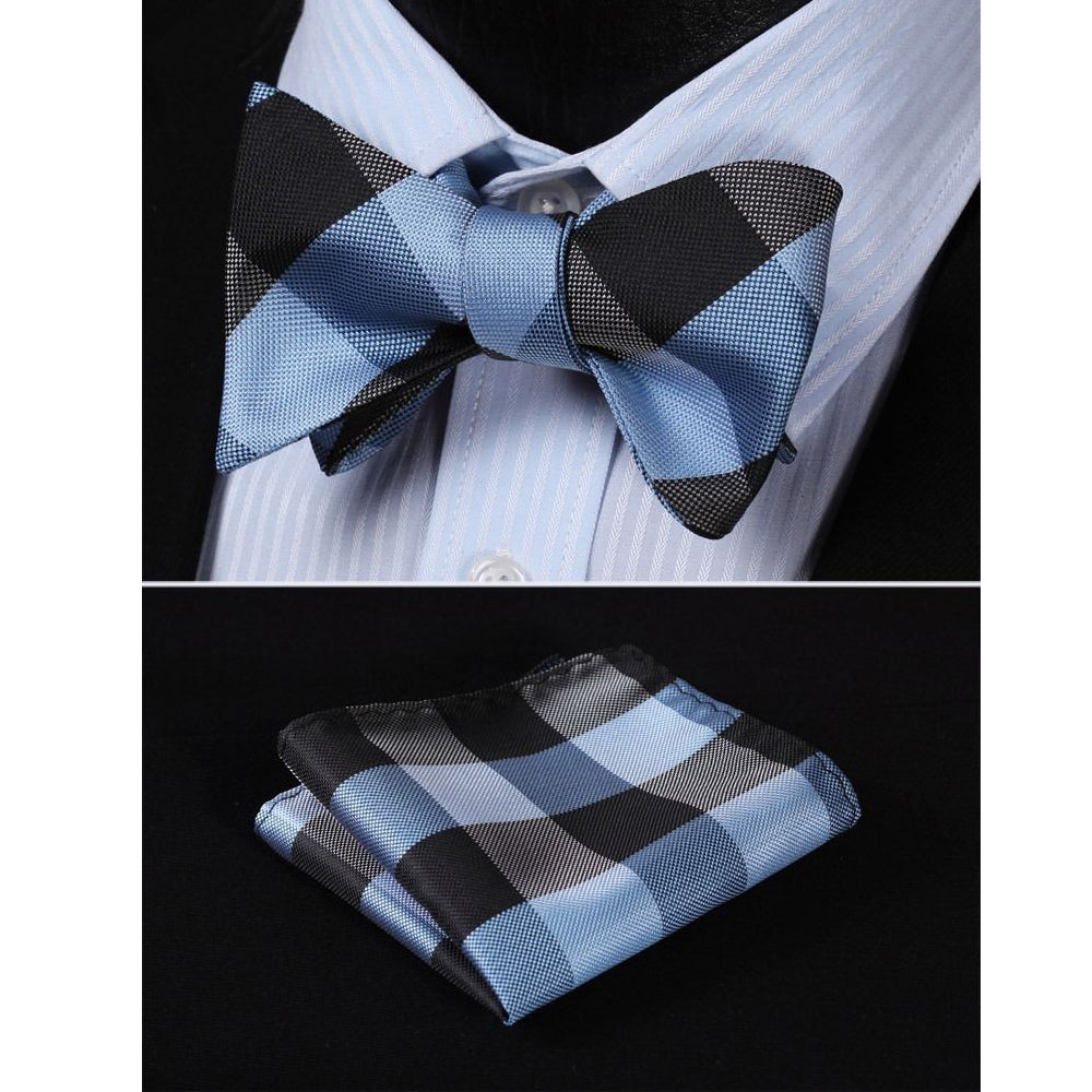 Men's Navy Blue Silk Self Bow Tie Matching Handkerchief