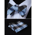 Men's Navy Blue Silk Self Bow Tie Matching Handkerchief - Amedeo Exclusive