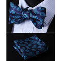 Navy Turqoise Paisley Mens Silk Self tie Bow Tie with Pocket Squares Set - Amedeo Exclusive