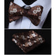 Men's Silk Flowers Self Bow Tie Matching Handkerchief - Amedeo Exclusive