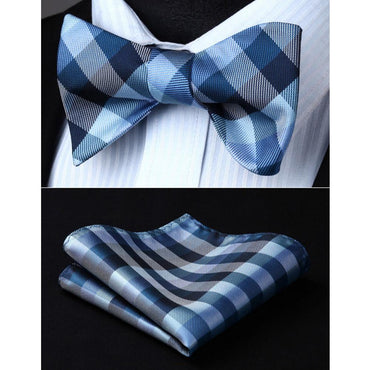 Blue Check Mens Silk Self tie Bow Tie with Pocket Squares Set - Amedeo Exclusive