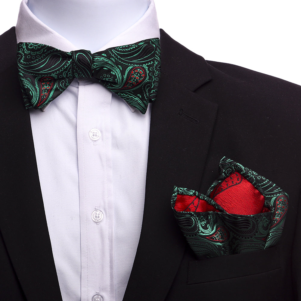 Men's Silk Green Black Red Self Bow Tie - Amedeo Exclusive