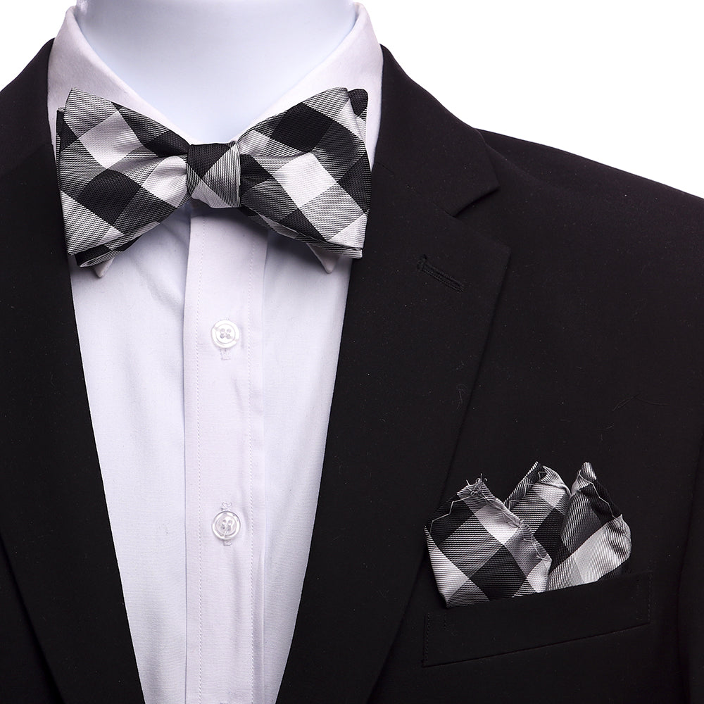 Men's Silk Black White Grey Self Bow Tie - Amedeo Exclusive