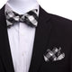 Men's Silk Black White Grey Self Bow Tie