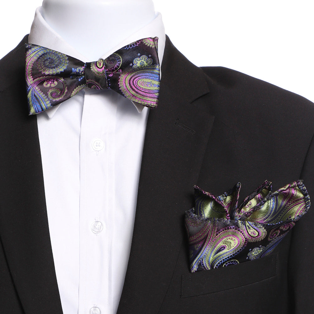 Men's Silk Rainbow Swirls Self Bow Tie