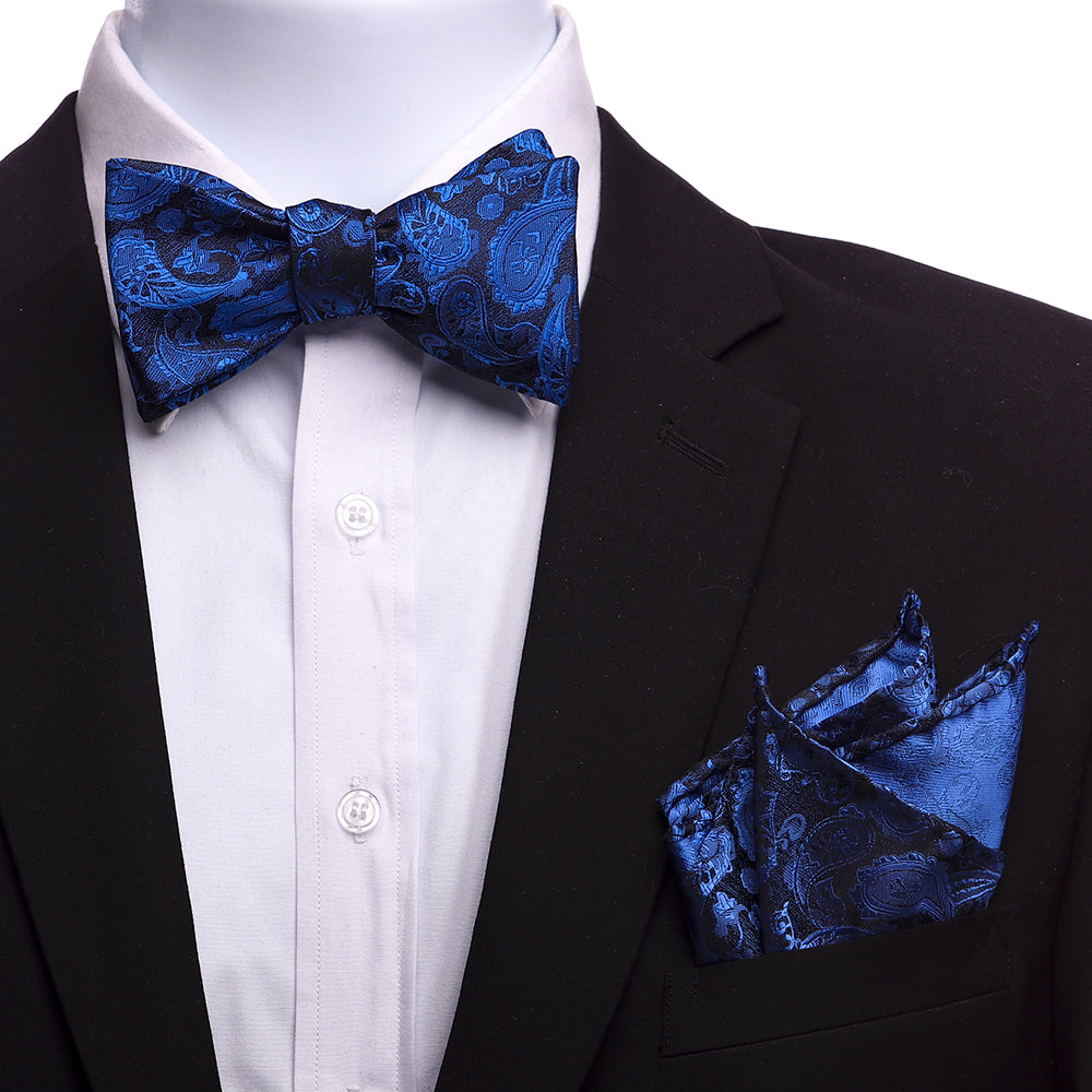 Men's Silk Blue Black Self Bow Tie with Handkerchief - Amedeo Exclusive