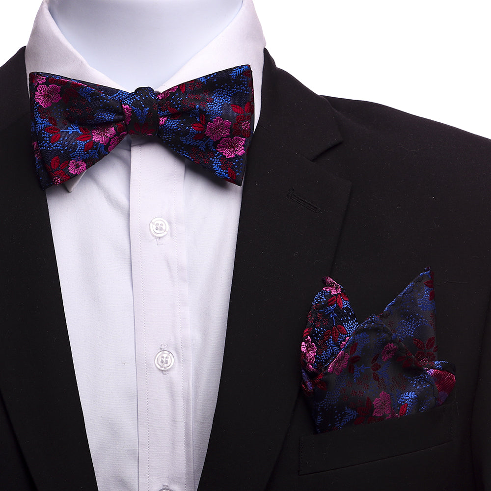 Men's Silk Red Pink Blue Self Bow Tie with Handkerchief - Amedeo Exclusive