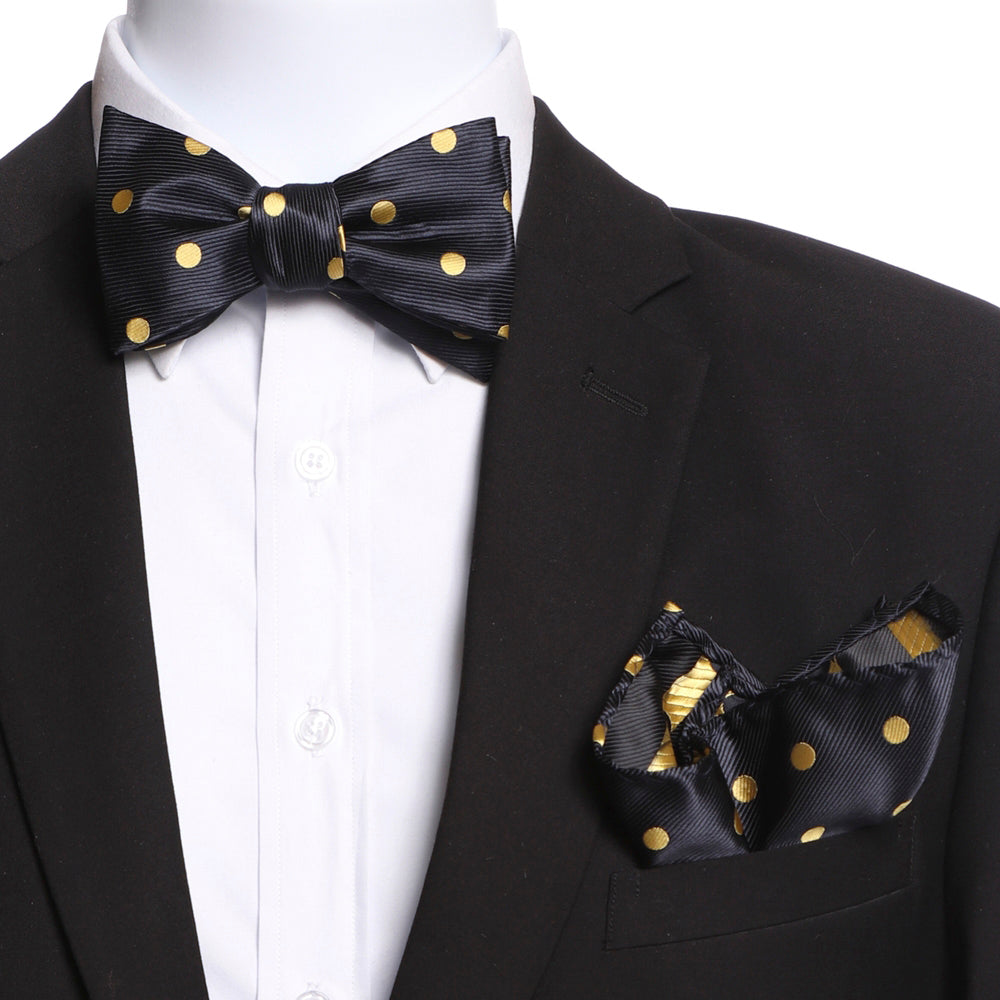 Men's Silk Polka Dots Self Bow Tie