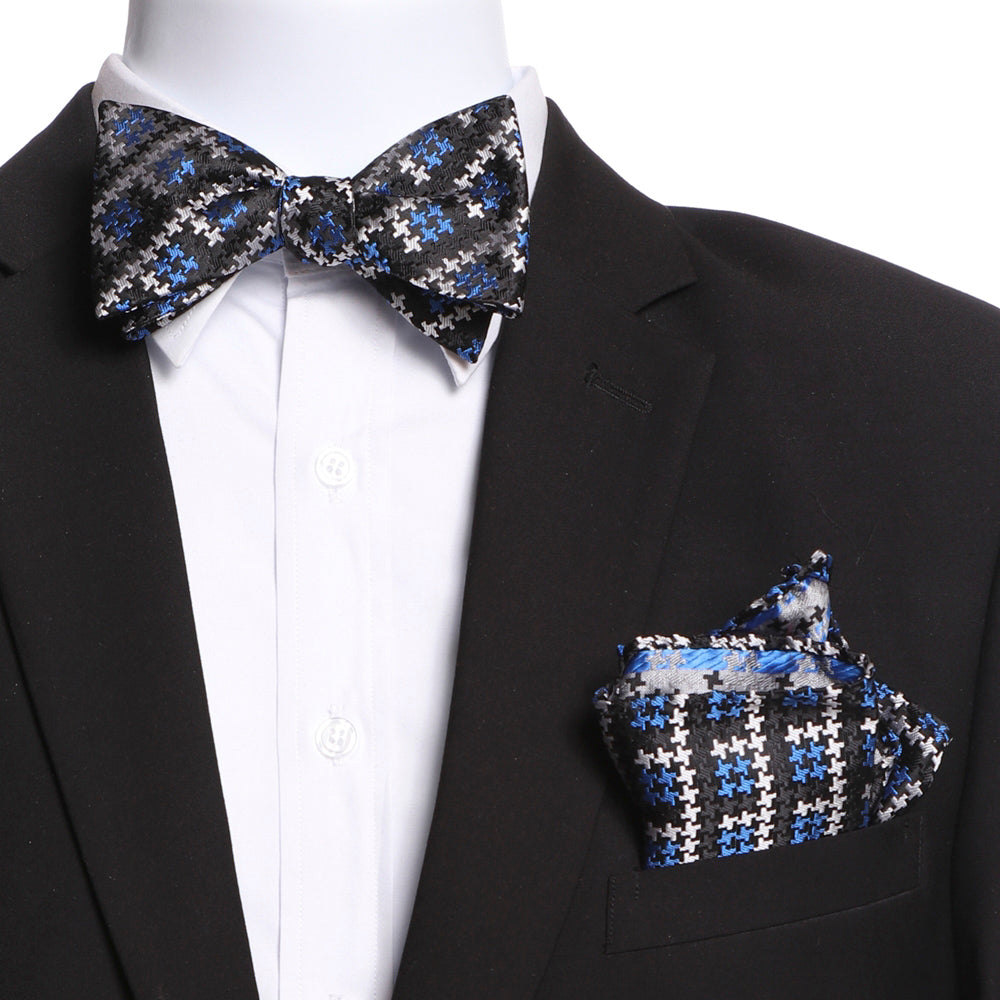 Men's Silk Black White Blue Self Bow Tie