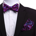 Men's Silk Pink Blue Self Bow Tie with Handkerchief