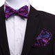 Men's Silk Pink Blue Self Bow Tie with Handkerchief - Amedeo Exclusive