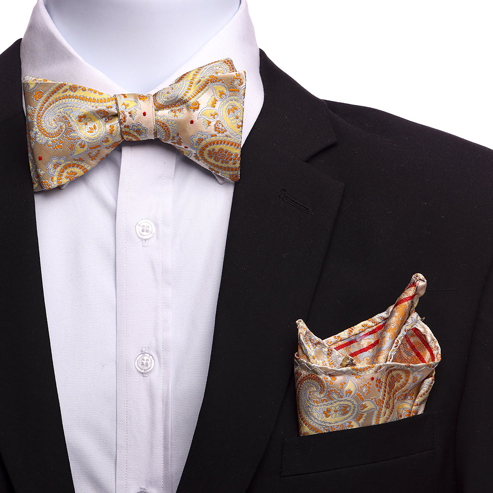 Men's Cream Beige Orange Silk Self Bow Tie
