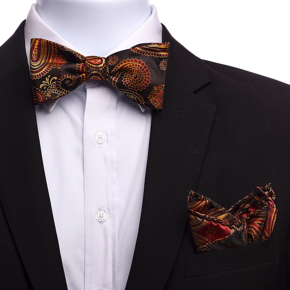 Men's Orange & Brown Silk Self Bow Tie