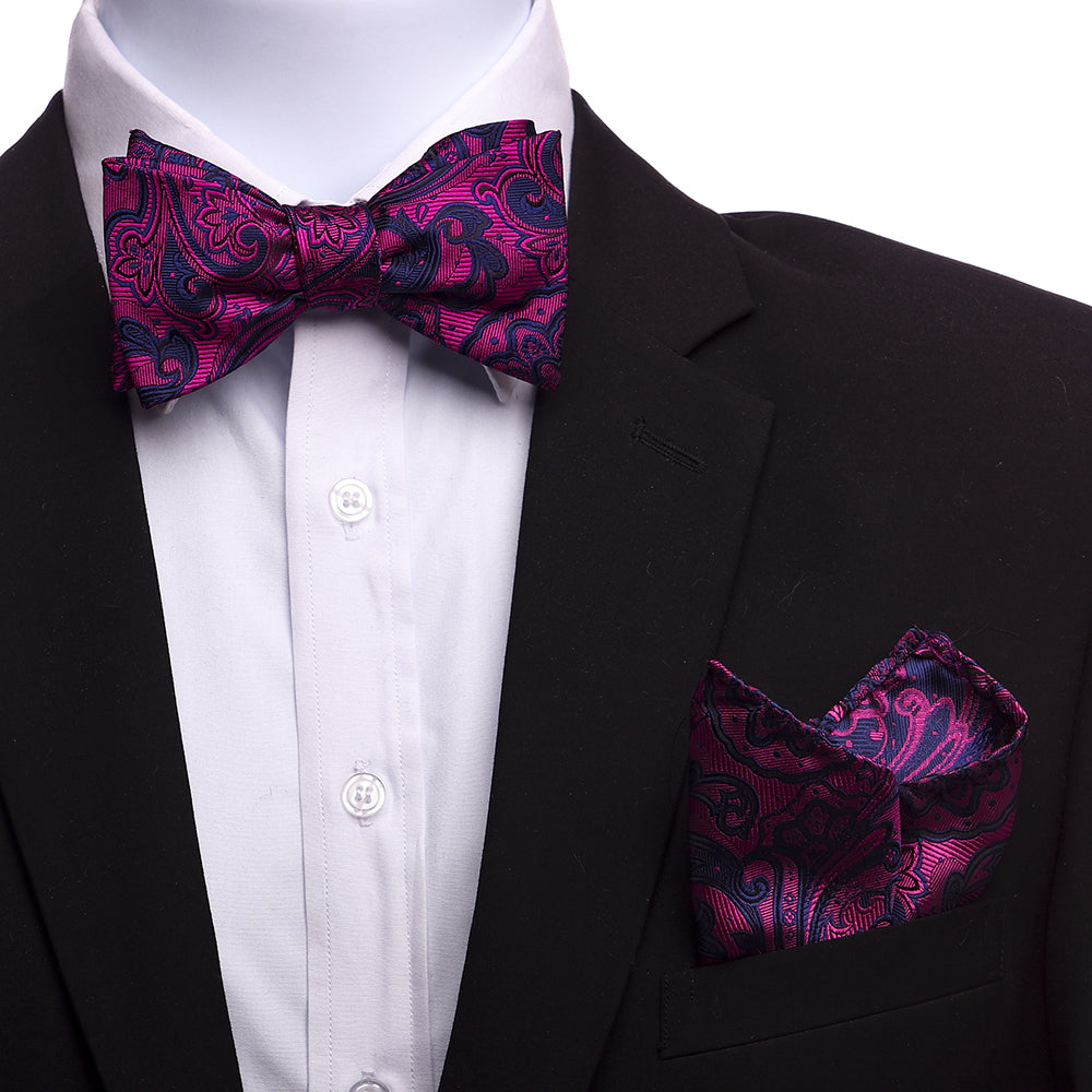 Men's Paisley Silk Self Bow Tie