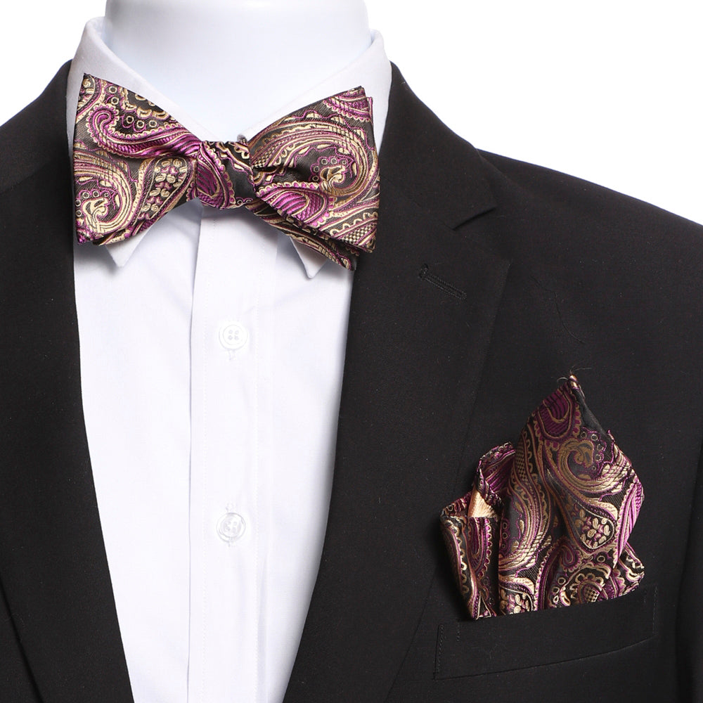 Men's Pink & Gold Paisley Self Bow Tie - Amedeo Exclusive