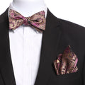 Men's Pink & Gold Paisley Self Bow Tie