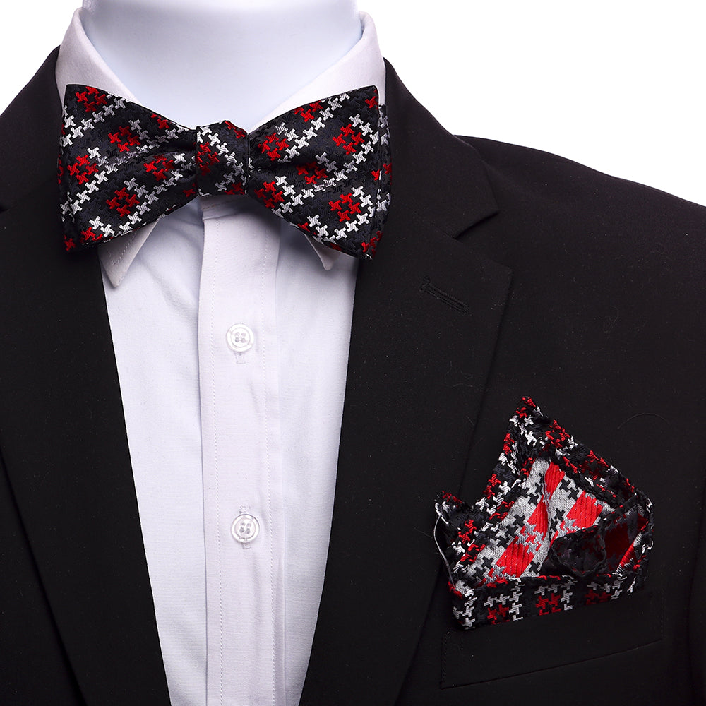 Men's Red & Black Floral Self Bow Tie - Amedeo Exclusive