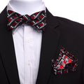 Men's Red & Black Floral Self Bow Tie