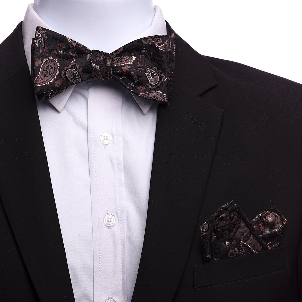 Men's Brown Self Bow Tie with Handkerchief - Amedeo Exclusive