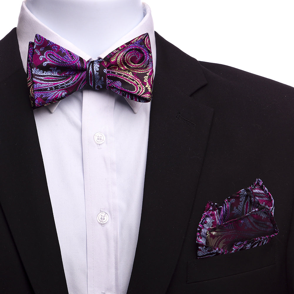 Men's Pink Gold Paisley Self Bow Tie