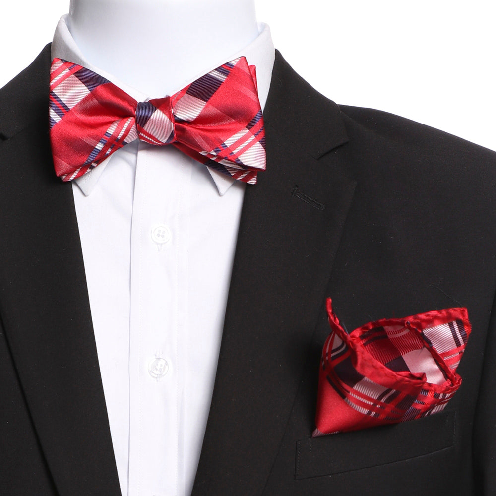 Men's Red Plaid Self Bow Tie with Handkerchief - Amedeo Exclusive