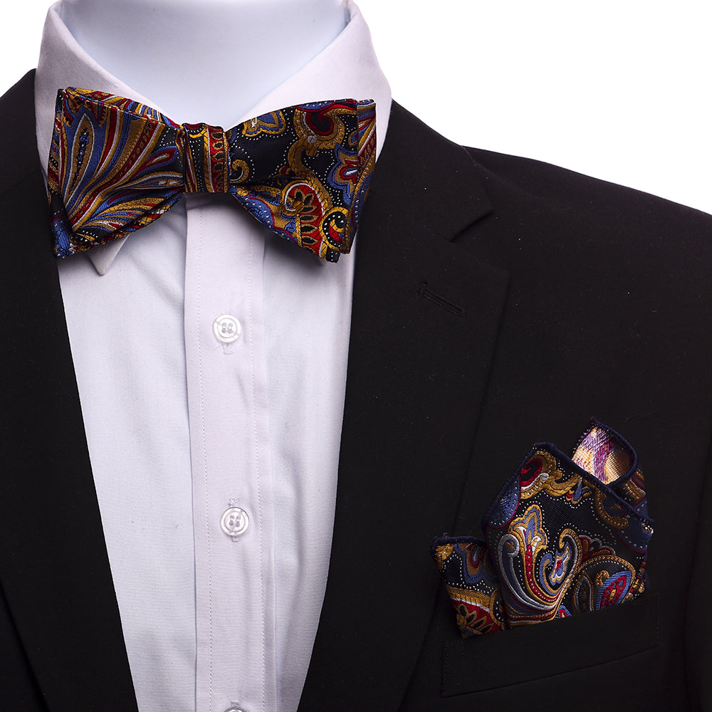 Men's Multi Color Paisley jacquard woven Italian Silk Self Bow Tie - Amedeo Exclusive