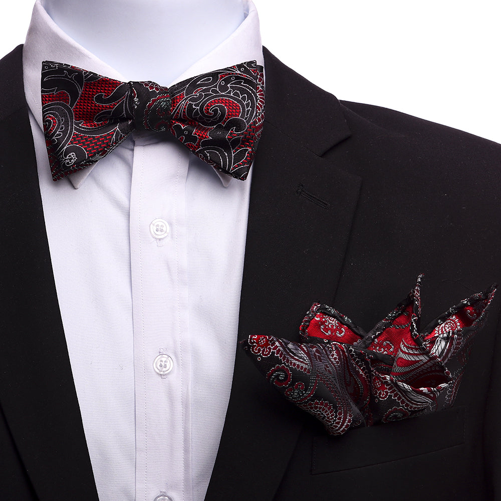 Men's Red & Black Self Bow Tie with Handkerchief - Amedeo Exclusive