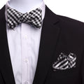 Men's Black White Checks Self Bow Tie