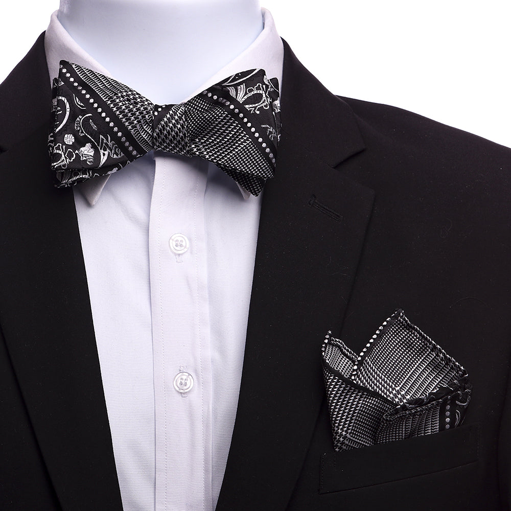 Men's Black And Silver Paisley Silk Self Bow Tie - Amedeo Exclusive