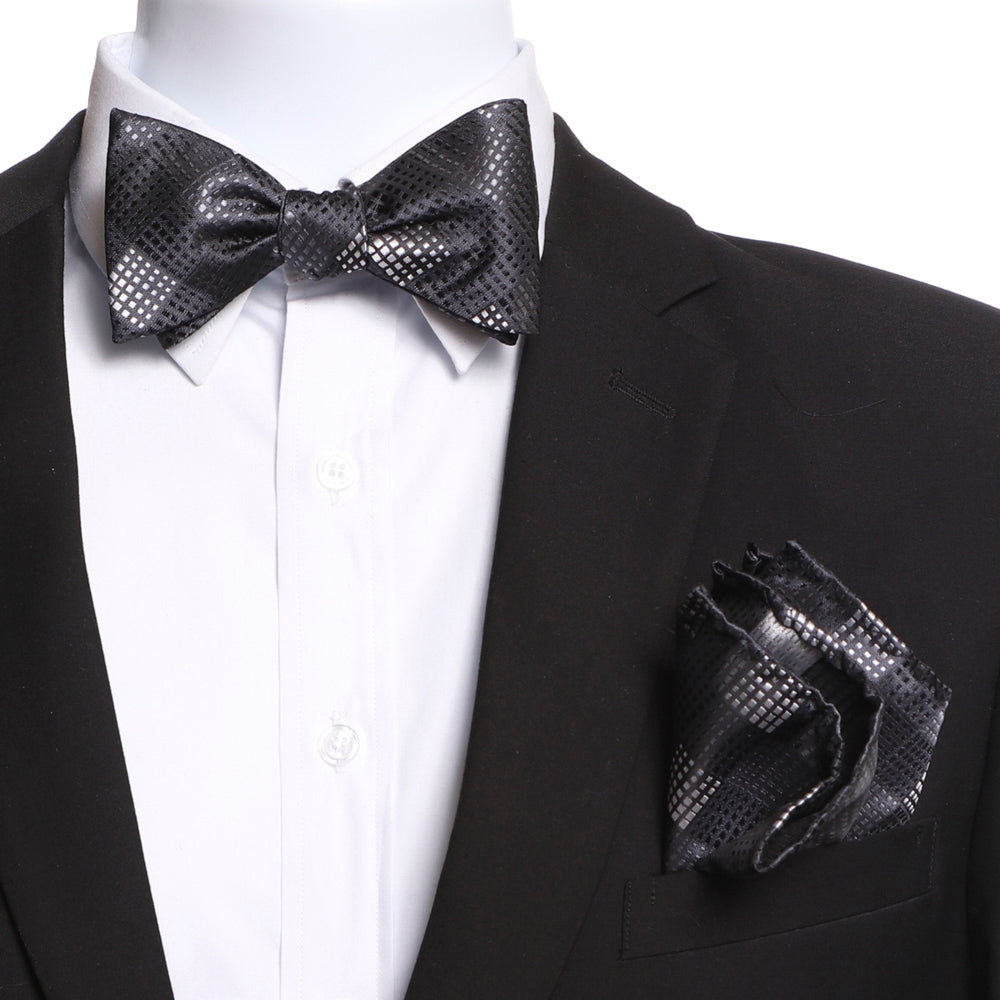 Men's Black Self Bow Tie with Handkerchief