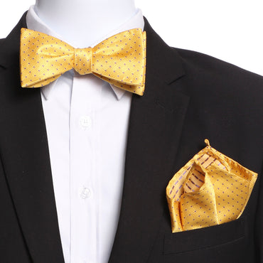 Men's Yellow / Gold Self Bow Tie with Handkerchief