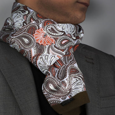 Unisex White Brown Paisley Silk Soft Elegant Long Fashion Scarf - Amedeo Exclusive