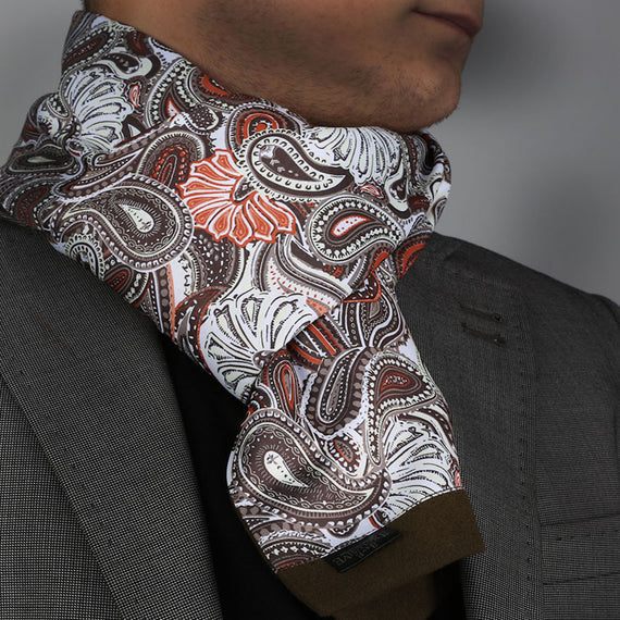 Unisex White Brown Paisley Soft Fashion Dress Scarves for Winter Made of Silk Blend - Amedeo Exclusive