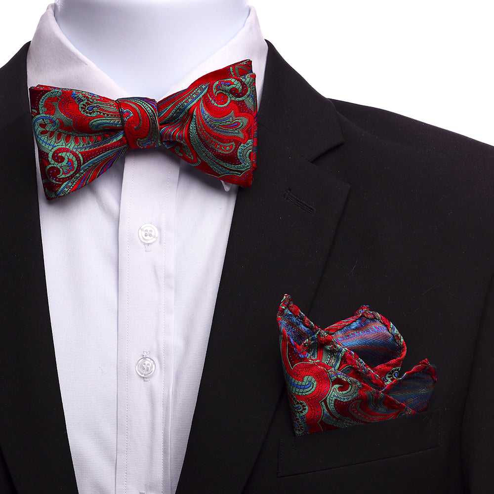 Men's Multi Red And Green Silk Self Bow Tie - Amedeo Exclusive