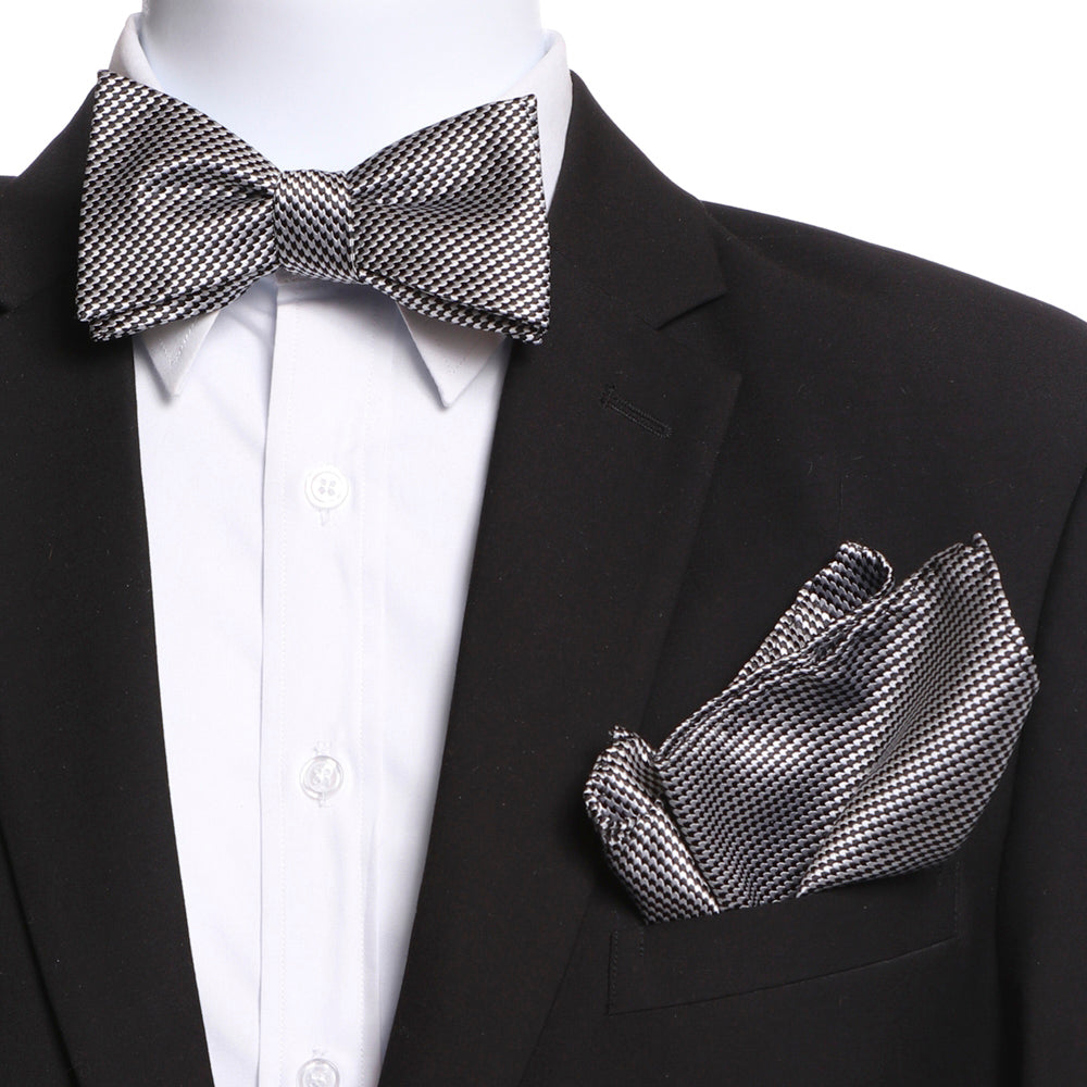 Men's Black & Silver Self Bow Tie with Handkerchief