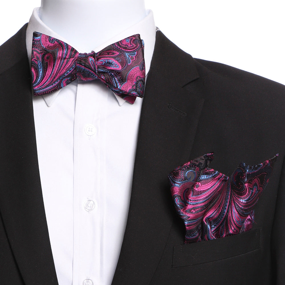 Men's Pink, Blue & Black Self Bow Tie