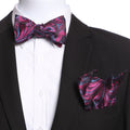 Men's Pink, Blue & Black Self Bow Tie - Amedeo Exclusive