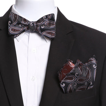 Men's Black Navy Blue White Self Bow Tie
