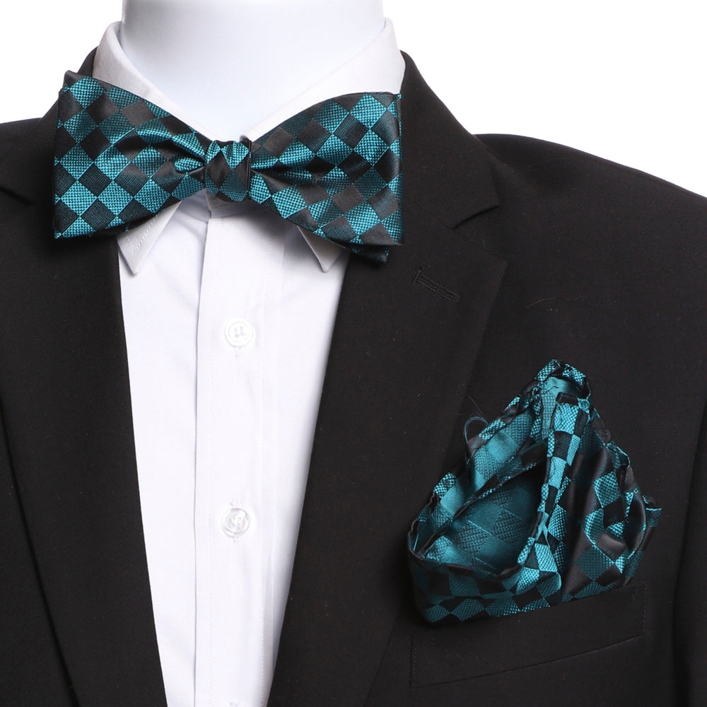 Men's Turquoise & Black Self Bow Tie