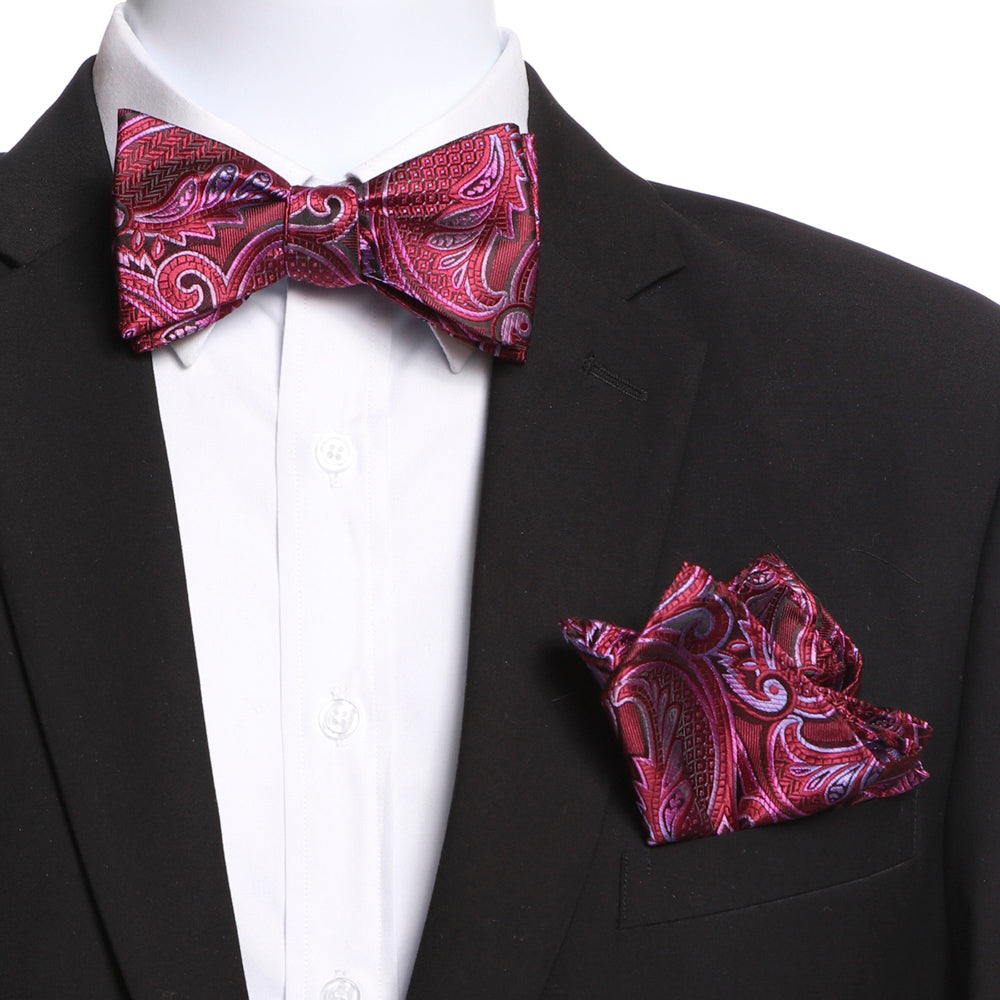 Men's Pink & Red Self Bow Tie with Handkerchief - Amedeo Exclusive