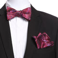 Men's Pink & Red Self Bow Tie with Handkerchief